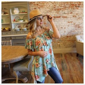 Mint floral off shoulder asymmetrical tunic
